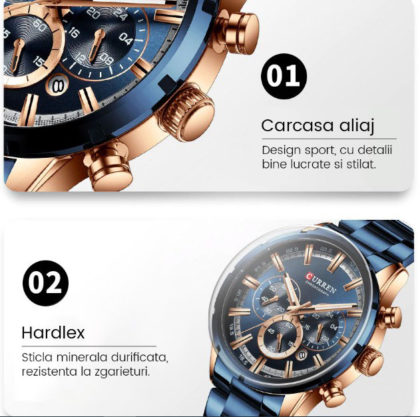 Ceas business albastru cronograf Curren detalii