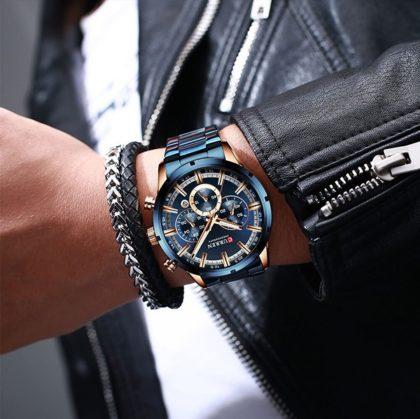 Ceas business albastru cronograf Curren mana