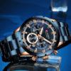 Ceas business albastru cronograf Curren profil