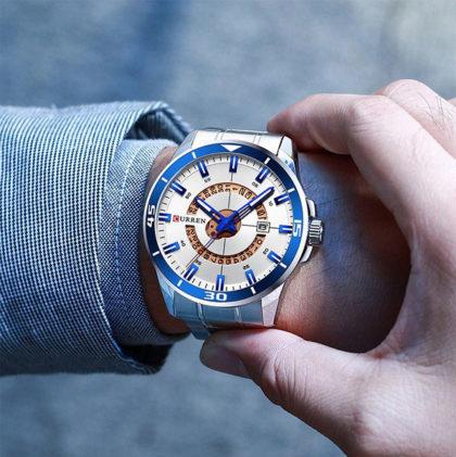 Ceas elegant metalic cronograf Curren mana