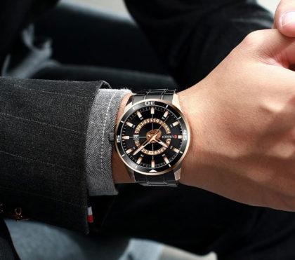 Ceas elegant negru cronograf Curren mana