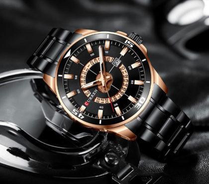 Ceas elegant negru cronograf Curren profil