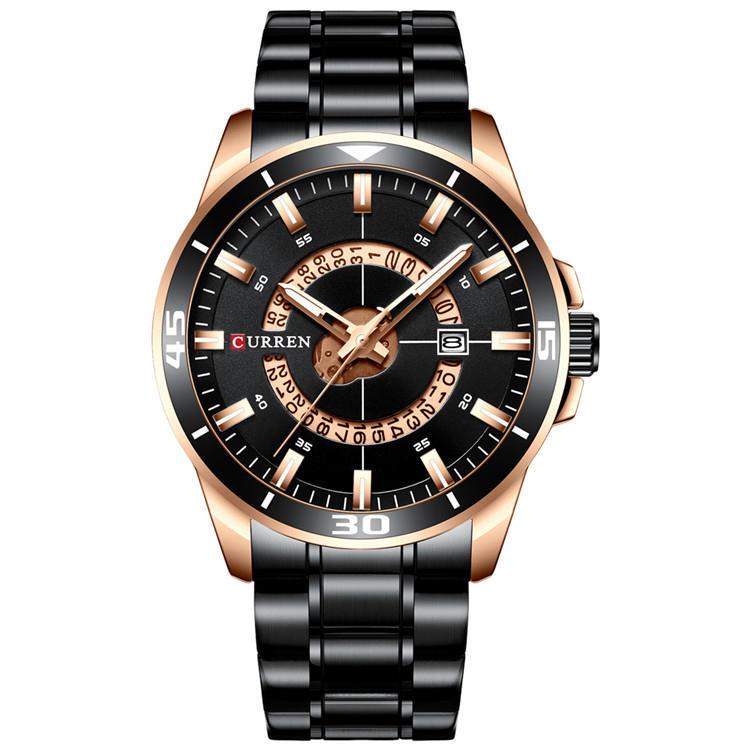 Ceas elegant negru cronograf Curren