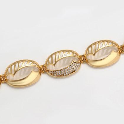Bratara eleganta placata aur 24K cristale sus