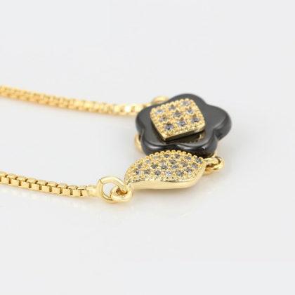 Colier elegant placat aur floricica cristale sus