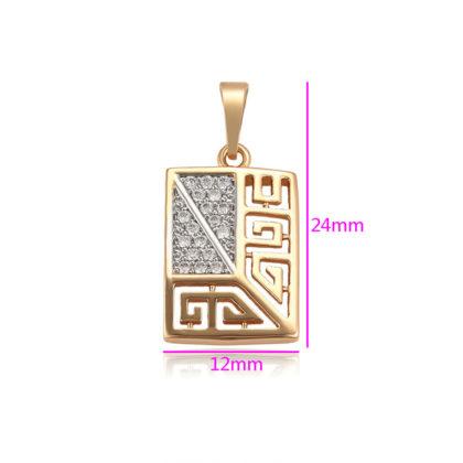 Colier placat aur pandantiv cristale detalii