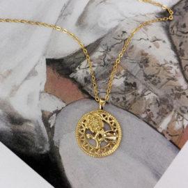 Lantisor argint 925 placat aur floricica