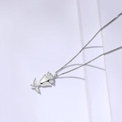 Lantisor argint 925 trandafir zirconiu