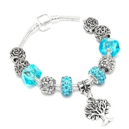 Bratara charm copacul vietii cristale turcoaz