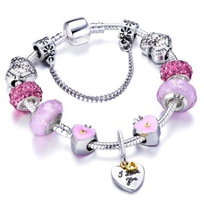 Bratara charm I Love You cristale roz