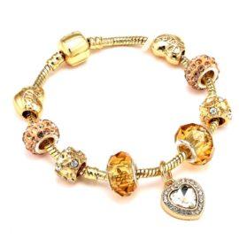 Bratara charm placata aur cristale aurii
