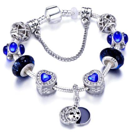 Bratara charm stelute cristale albastre