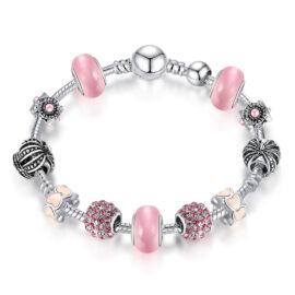 Bratara charm coronita cristale roz