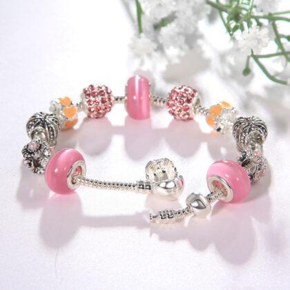Bratara charm coronita cristale roz detalii