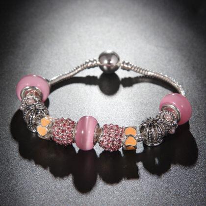 Bratara charm coronita cristale roz fata
