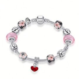 Bratara charm inimioara cristale roz-nud