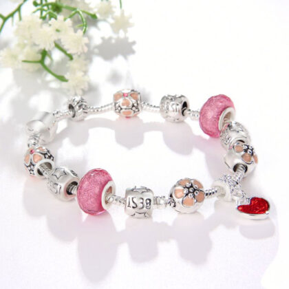 Bratara charm inimioara cristale roz-nud fata