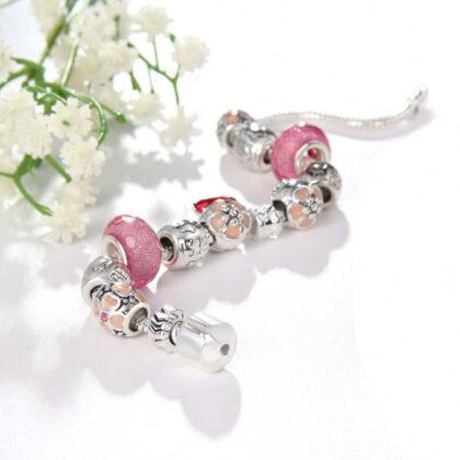 Bratara charm inimioara cristale roz-nud sus