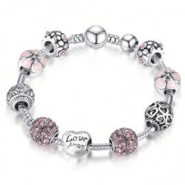 Bratara charm Love cristale roz