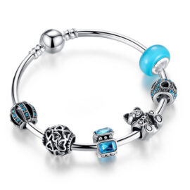 Bratara rigida charm cristale albastre