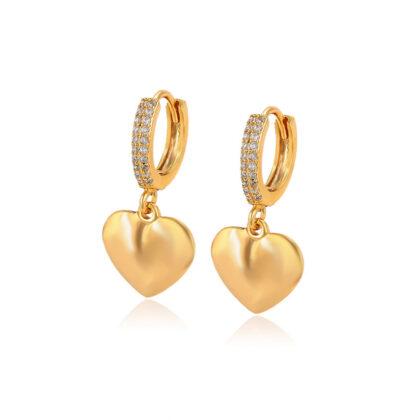 Cercei dama inimioare cristale placati aur