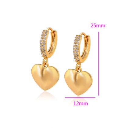 Cercei dama inimioare cristale placati aur dimensiuni