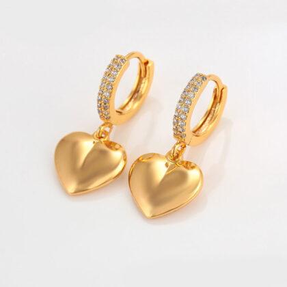 Cercei dama inimioare cristale placati aur fata