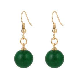 Cercei dama placati aur pietre verzi