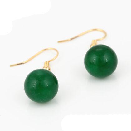 Cercei dama placati aur pietre verzi sus