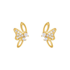 Cercei mici fluturasi cristale placati aur
