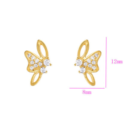 Cercei mici fluturasi cristale placati aur dimensiuni