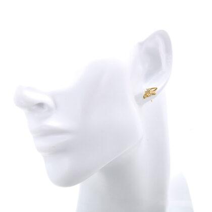 Cercei mici fluturasi cristale placati aur model