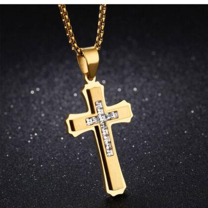 Lant pandantiv cruce zirconiu placat aur fata