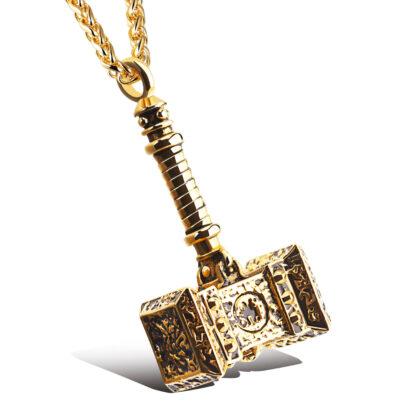 Lant placat aur pandantiv ciocanul lui Thor