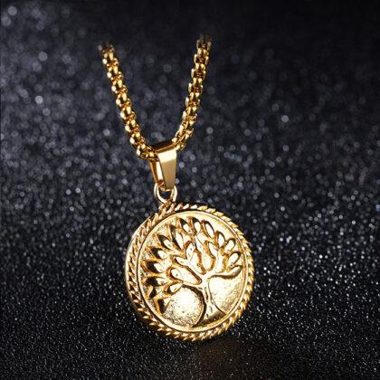 Lant placat aur pandantiv copacul vietii fata