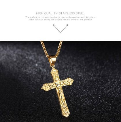 Lant unisex placat aur pandantiv cruce fata