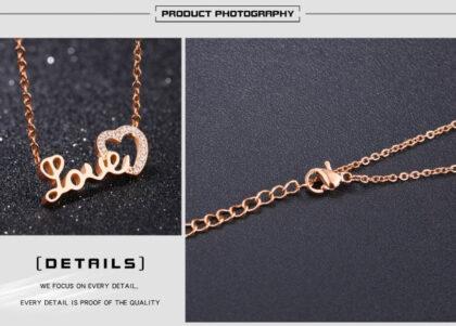 Lantisor finut placat aur Love zirconiu detalii