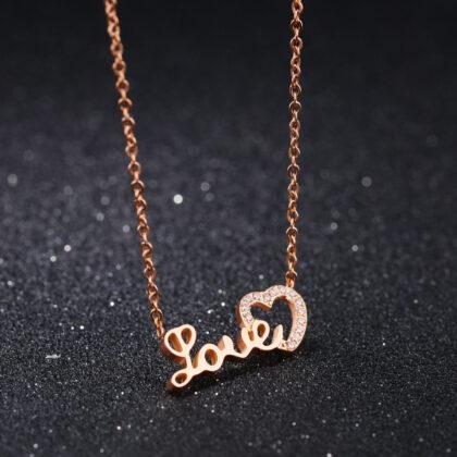 Lantisor finut placat aur Love zirconiu fata