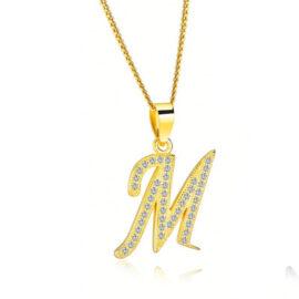 Lantisor initiala M placat aur zirconiu