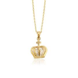 Lantisor placat aur pandantiv coroana