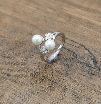 Inel argint 925 perle si zirconiu