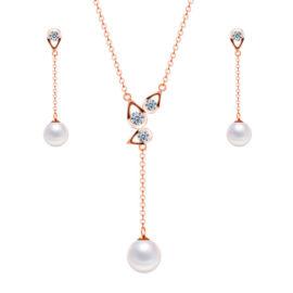 Set argint 925 colier si cercei perle placat aur