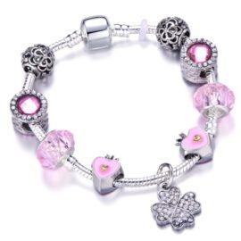 Bratara charm trifoi cristale roz