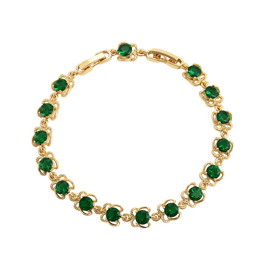 Bratara eleganta cristale verzi placata aur
