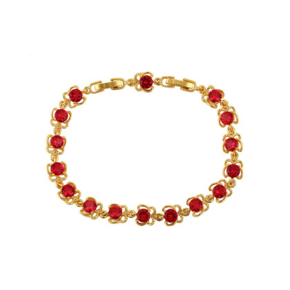 Bratara eleganta placata aur cristale rosii