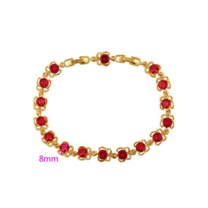 Bratara eleganta placata aur cristale rosii grosime