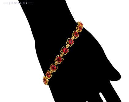 Bratara eleganta placata aur cristale rosii mana