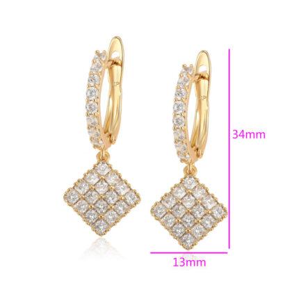 Cercei dama placati aur 24K cristale dimensiuni