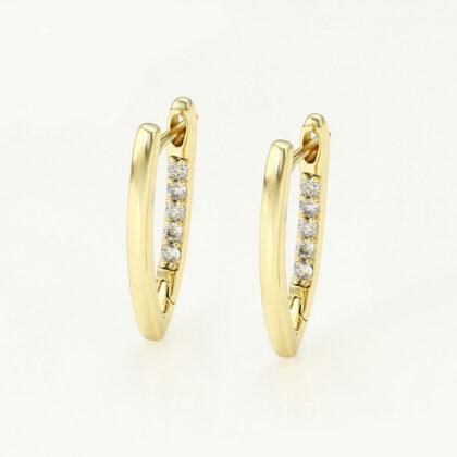 Cercei dama placati aur 24K cristale fata