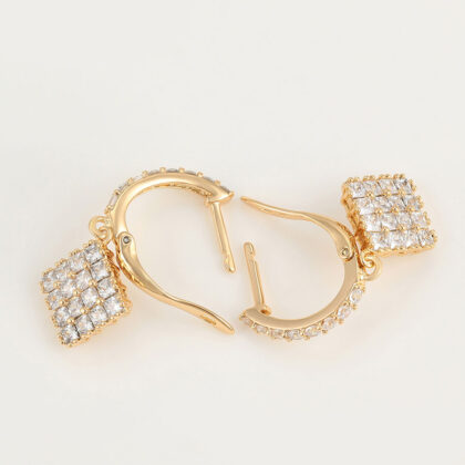 Cercei dama placati aur 24K cristale sus